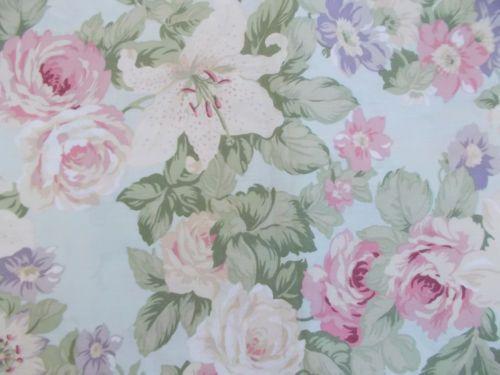 Martha Stewart Pink Roses Aqua Blue Fabric Shower Curtain Floral ...