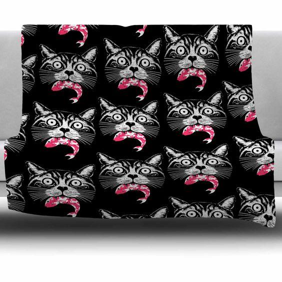 Hungry Cat Fleece Throw Blanket