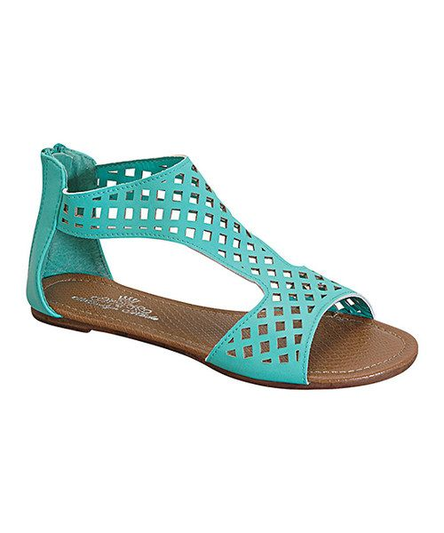 Take+a+look+at+the+Sea+Green+Laser+Cutout+Maciel+T-Strap+Sandal+on+#zulily+today!