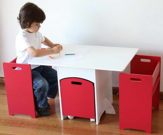 Work Kids Table and Chairs With Color Pencils: Kids Furniture, Kids Stuff, Storage Hipkids, Kids Room, Kids Table And Chairs, Playroom Ideas