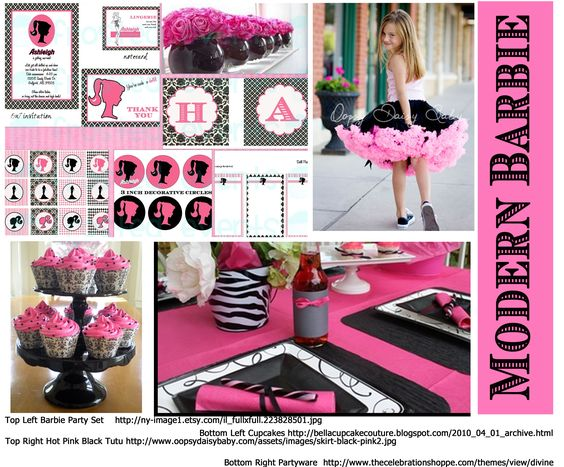 modern barbie party ideas hot pink black party http://www.frostedevents.com