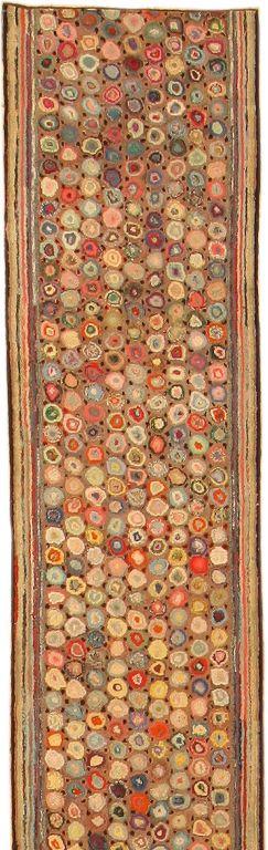 Vintage hooked rug 17' long