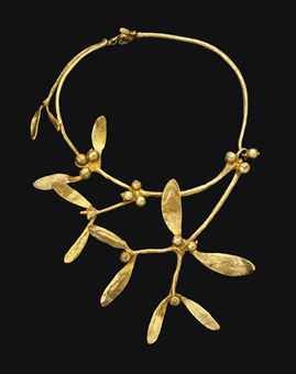 CLAUDE LALANNE (B. 1924). A 'COLLIER GUI VERMEIL' necklace, executed in 1985. Gilt bronze