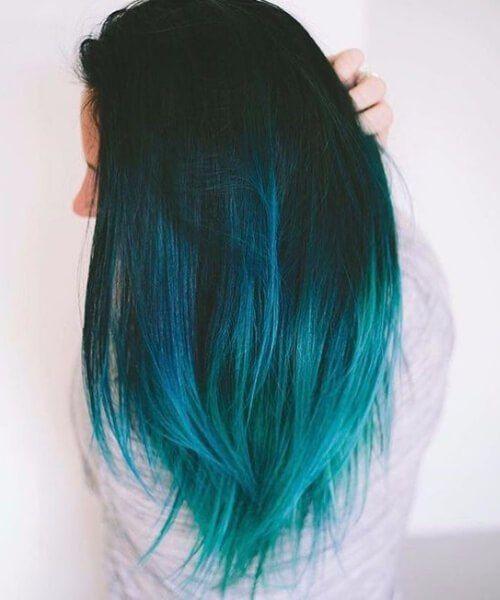 pelo verde azulado ...