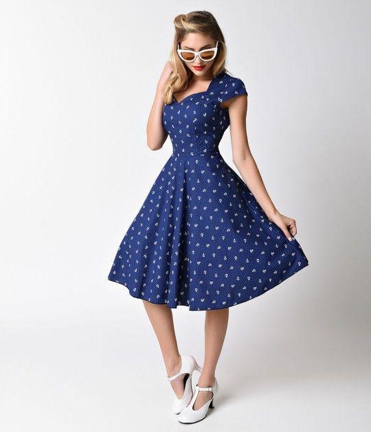 1950s Style Navy & White Anchor Cap Sleeve Sweetheart Swing Dress