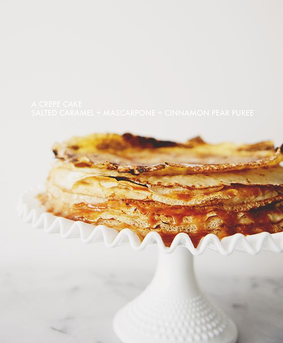 crepe cake with salted caramel + mascarpone + cinnamon pear puree.