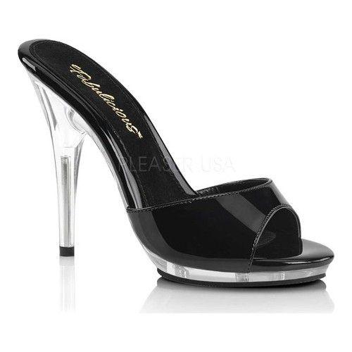 Fabulicious POISE-501 Womens Clear Platform Slide Mule Slip On Sandals Heels