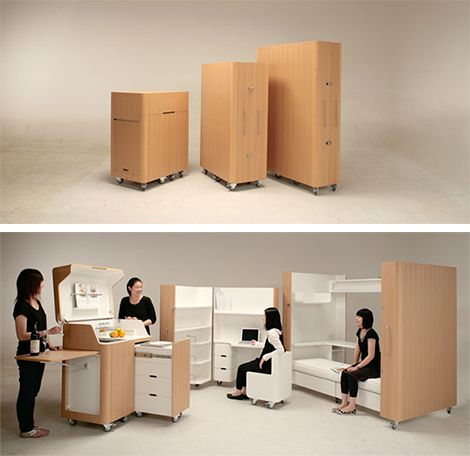 Mobile furniture. Great for really small efficiency apartments or dorms