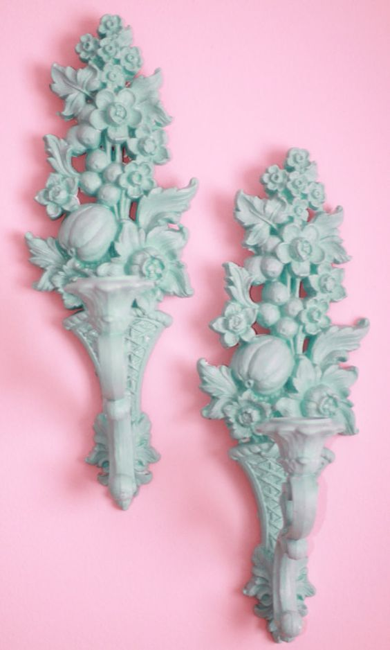 Awesome upscale vintage sconces/candleholders. Pair in teal.