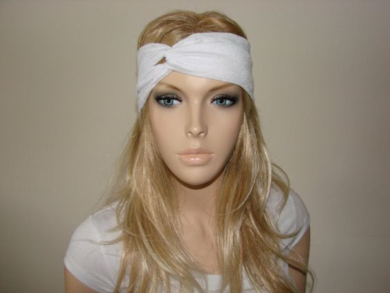 White sheer Turban Headband workout Fitness by OtiliaBoutique, $12.00