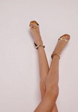 Sandales dorées vernies à talon