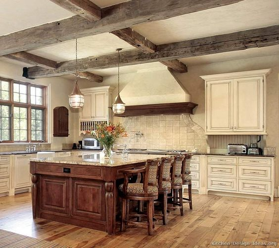 #Kitchen Of The Week: An Antique White Kitchen With Rustic Beams And A Cherry Island. Rustic