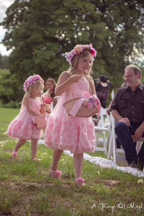 Flower girls pink outdoor wedding. DIY flower crowns