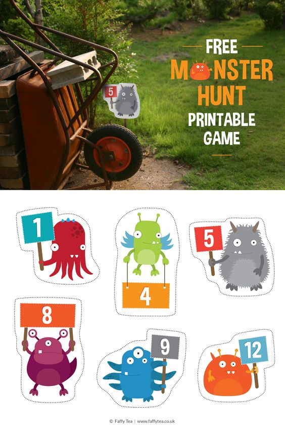 Printable 'Monster Hunt' party game. 12 cute monsters for hiding around venue. Free kids' party game!