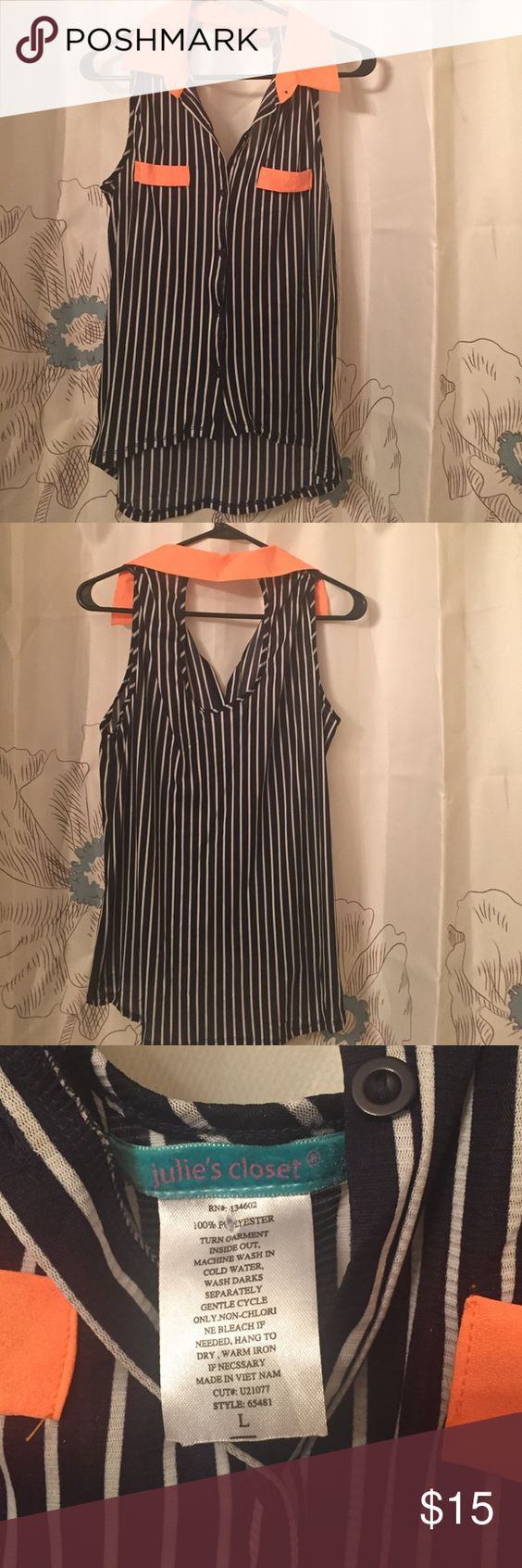 Orange Collared Pin Stripped Button Up Tank Blue, White stripes, Orange Collar, Cut out back, Button Up front, Julie's Closet, Large Julie's Closet Tops Tank Tops