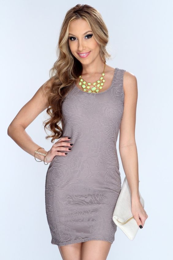 Taupe Bodycon Sexy Mini Party Dress
