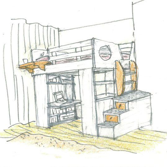 Cabina Bunk Bed Furniture Sketch Kids Design Aircraft Art
