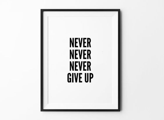 Never give up d coration murale sticker impression for Art minimaliste citation