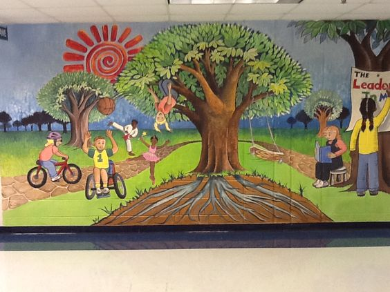 The o 39 jays leader in me and school murals on pinterest for Elementary school mural ideas
