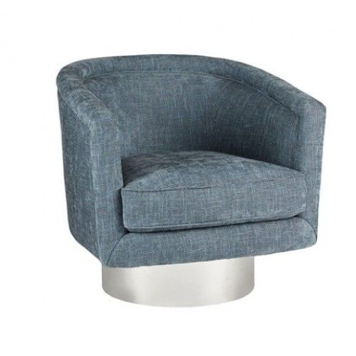 Blue Fabric Barrel Swivel Chair Silver Round Base Swivel Chair Chair Leather Dining Room Chairs