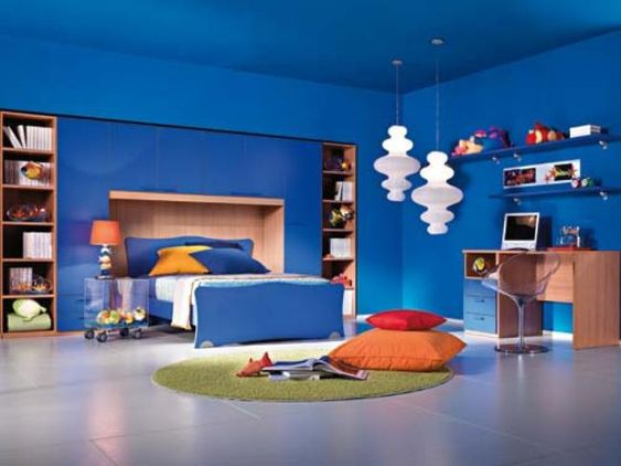 Red and blue paint ideas for kids room paint ideas for Cool blue bedroom ideas