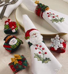Christmas Napkin Rings Bucilla - Felt - Home Decor - Christmas - Napkin Ring Set  Plaid Enterprises