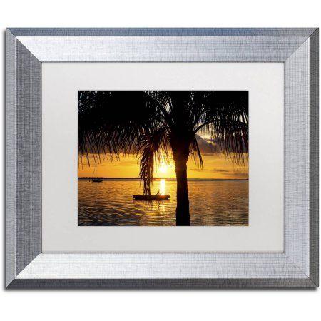 Trademark Fine Art Peaceful Sunset Canvas Art by Philippe Hugonnard, White Matte, Silver Frame, Size: 16 x 20, Orange