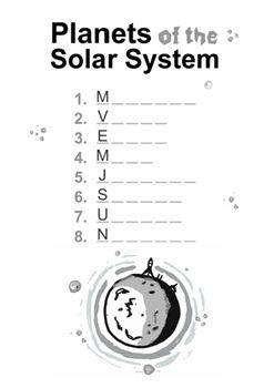 PLANETS AND NAMES WORKSHEETS ( SOLAR SYSTEM ) - TeachersPayTeachers.com ($1.50)