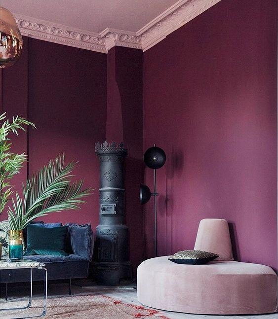 paars woonkamer interieur design