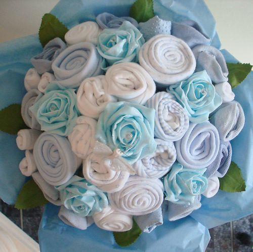 Hand-Made Luxury  Baby Boy Bouquet - Made with Real Baby Clothes - Baby Shower - Nappy Cakes. £35.00, via Etsy.