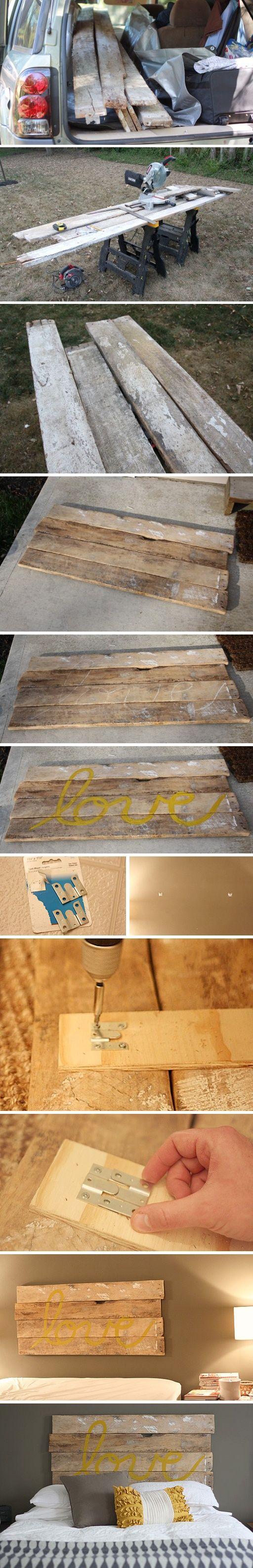 Fabriquer une t te de lit vieilles cl tures design et planches de palettes - Fabriquer lit palette ...