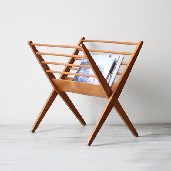 Would make a lovely addition to any bathroom.  danish modern wood magazine rack / AM radio