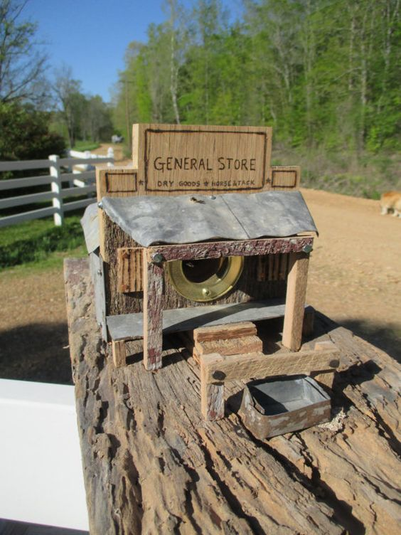 Birdhouse Reclaimed Wood General Store -- Rustic Birdhouse with Storefront Facia - Saloon, General Store, Mercantile - Unique Personalized | shopswell