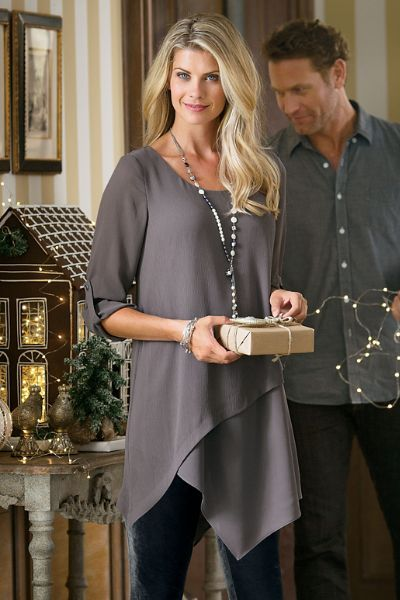 Our mayfair tunic is classically elegant with modern styling it s
