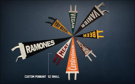 CUSTOM ORDER, hand-crafted, high quality felt pennant. Size SMALL.