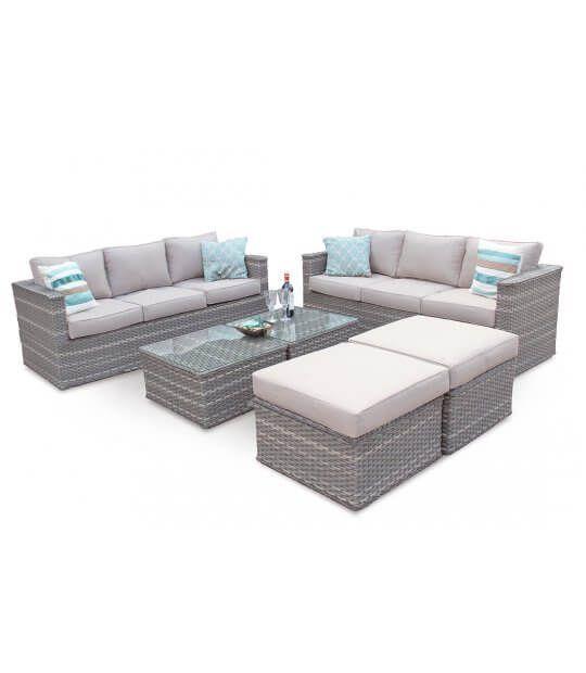 999 Bahamas Large Conversation Rattan Outdoor Sofa Set Natural Furniture Clearance Rattan Garden Furniture Outdoor Furniture Sets