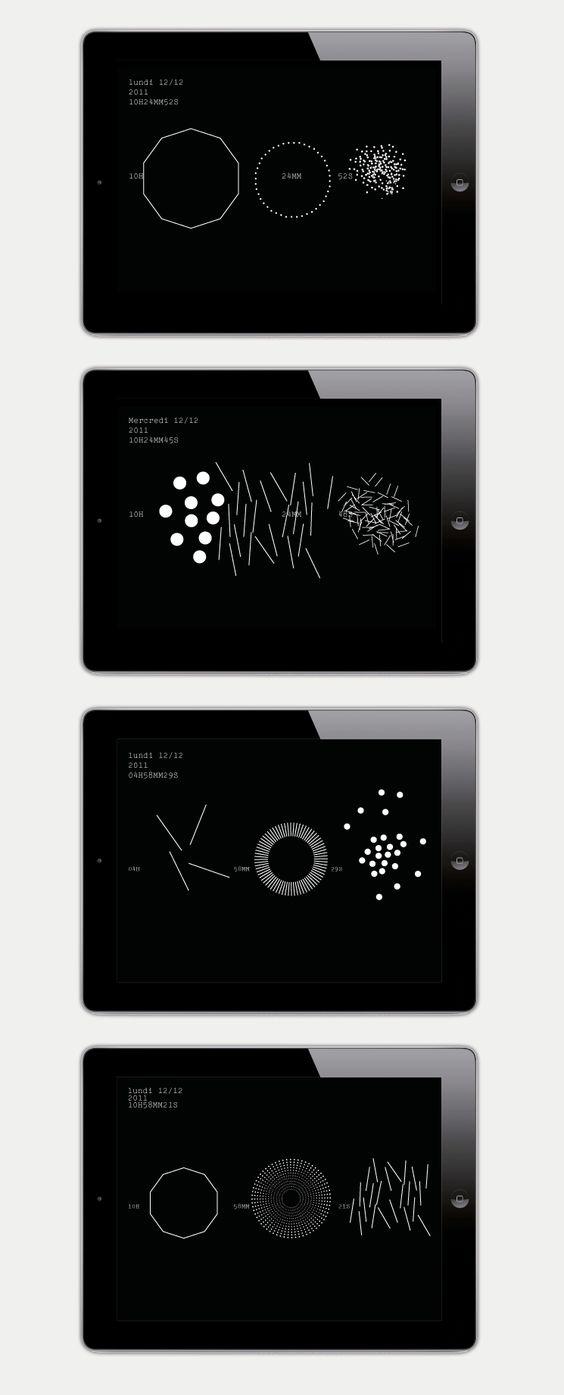 Étrange horloge  Économiseur d'écran, application tablettes  Trafik  2012    À partir d'un répertoire de 12 registres graphiques distincts, l'horloge aléatoire propose une variété infinie de figures  au temps qui passe.