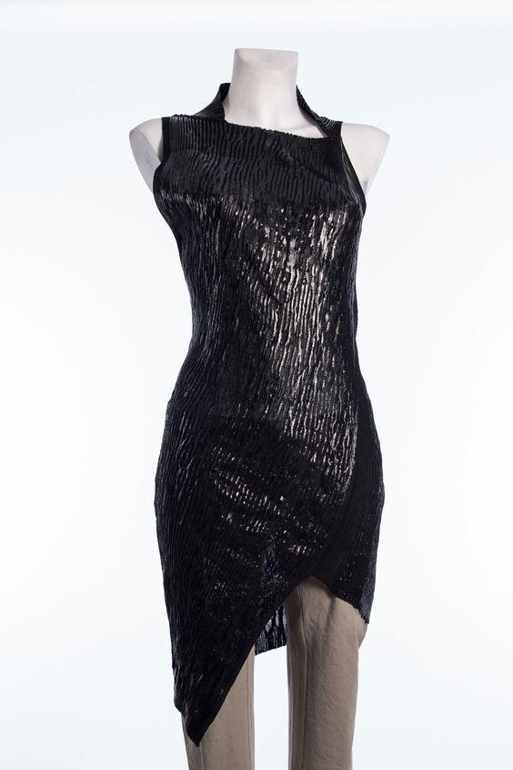 Kleid Schwarz Pailletten Kragen: Frida Frankfurt high fashion store
