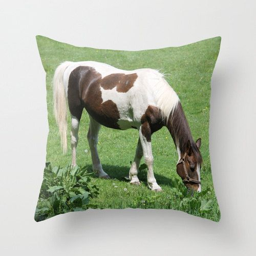 Beautiful Horse in Spring Field Pillow by BacktoBasicsPillows
