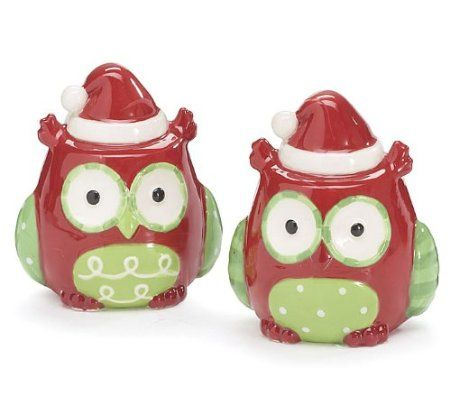 Whimsical Christmas Santa Owl Salt and Pepper Shakers Adorable Holiday Kitchen Decor: Amazon.com: Kitchen & Dining
