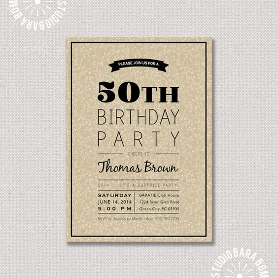 Sorpresa 50 o cumplea os invitaci n de cumplea os de - Fiestas de cumpleanos originales para adultos ...