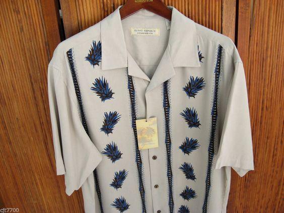 New Mens Silk Camp Shirt Hawaiian Rockabilly Retro Vtg 50s Bowling Party Large L #IslandRepublic #ButtonFront