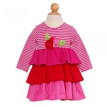 Rare Editions Pink Striped Flower Ruffle Girls Dress 3M-6X