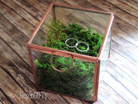 Schachteln & Boxen - Ringschatulle Hochzeit Glas Metall Moos - Gr. L - ein Designerstück von HexenGIFTS bei DaWanda