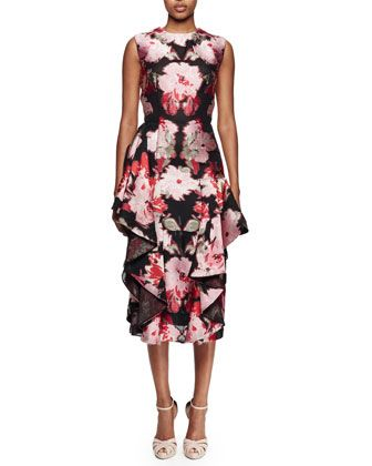 Sleeveless Floral-Print Cocktail Dress, Black Multi by Alexander McQueen at Neiman Marcus.