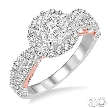 5/8 Ctw Diamond Lovebright Ring in 14K White and Pink Gold