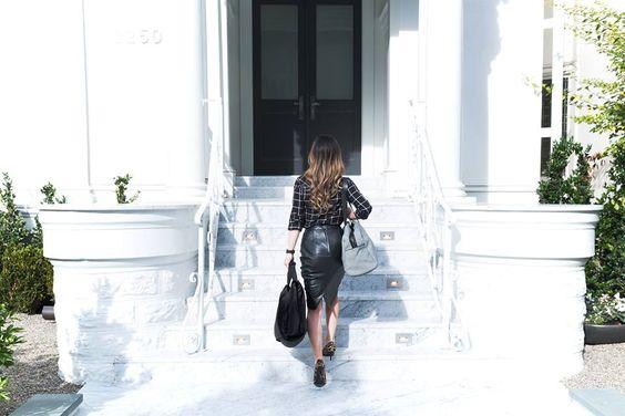 Window pane print, leather pencil skirt, animal print heels