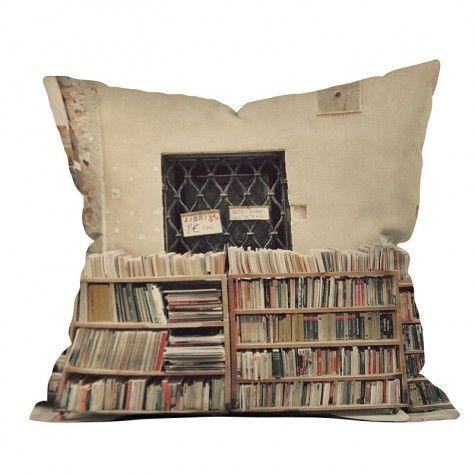Happee Monkee Venice Bookstore Throw Pillow