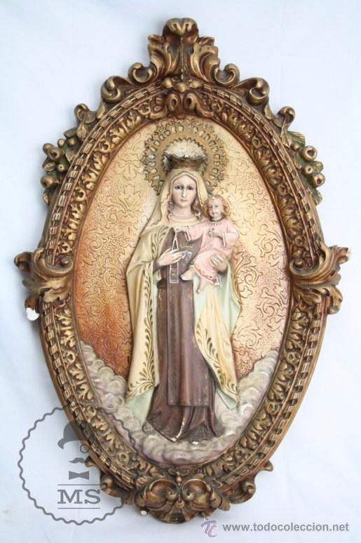 Precioso Relieve de la Virgen del Carmen con el Niño Jesús en Brazos - Escayola - 46 x 7 x 67 Cm - Foto 1