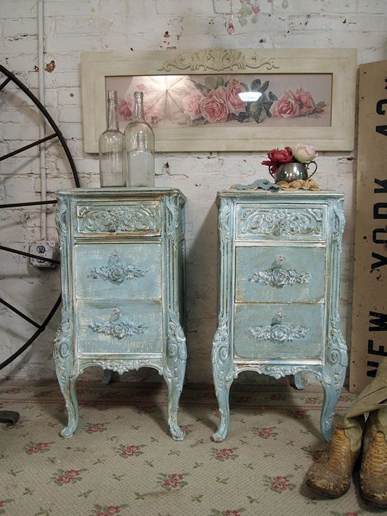Painted Cottage Shabby French Aqua Night Tables Nt265 Painted Furniture Furniture Ideas And